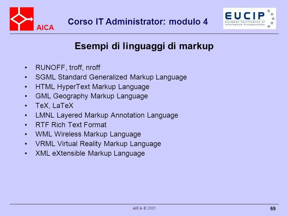 Esempi di linguaggi di markup