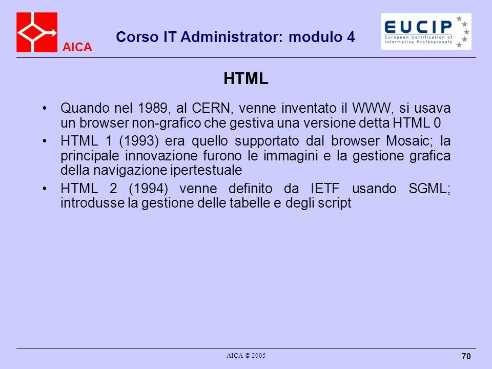 HTML Quando nel 1989, al CERN, venne inventato il WWW, si usava un browser non-grafico che gestiva una versione detta HTML 0.