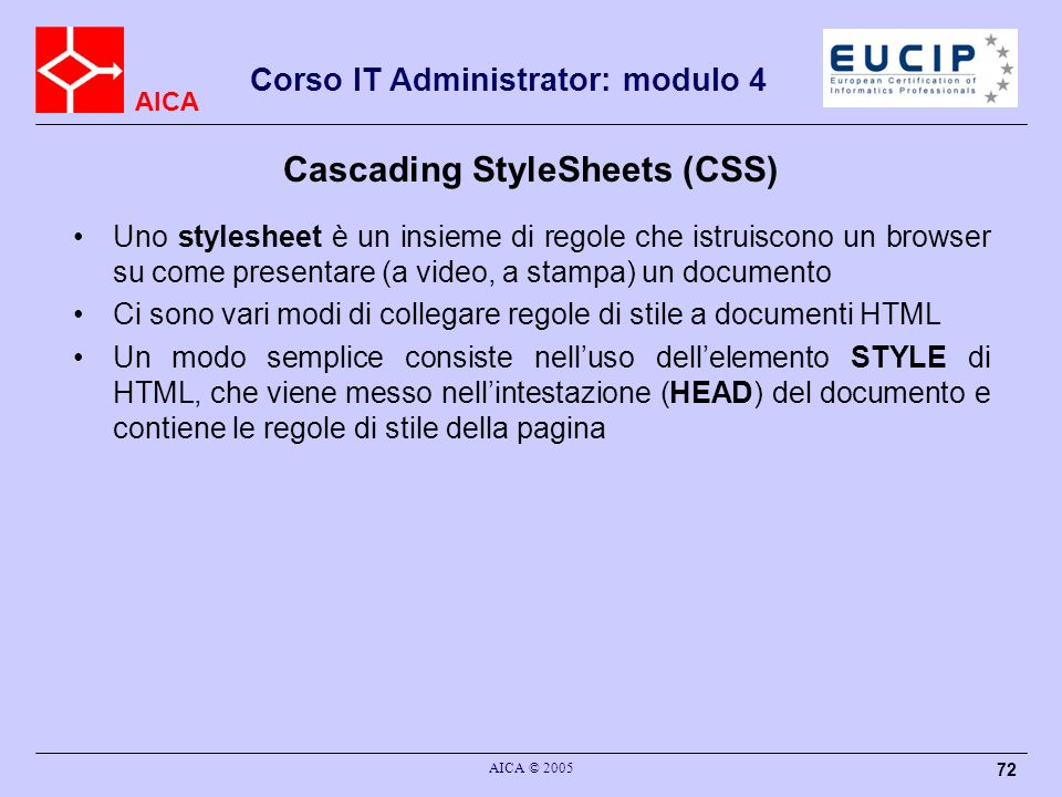 Cascading StyleSheets (CSS)