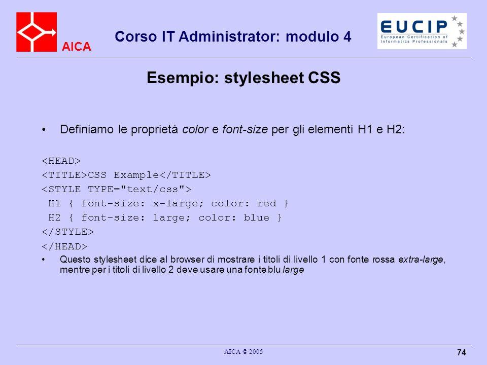 Esempio: stylesheet CSS
