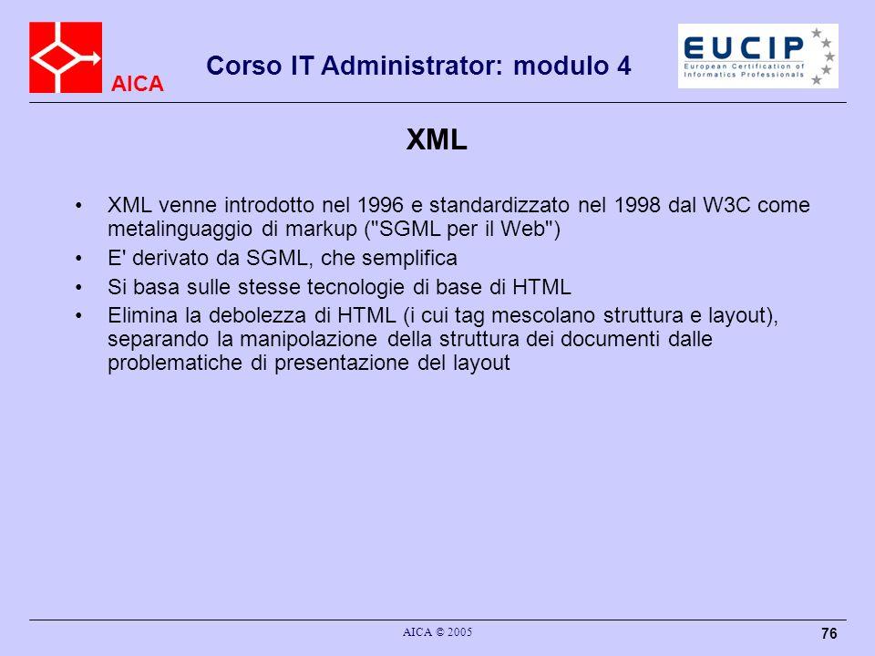 XML XML venne introdotto nel 1996 e standardizzato nel 1998 dal W3C come metalinguaggio di markup ( SGML per il Web )