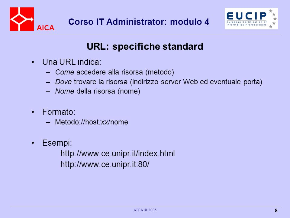 URL: specifiche standard