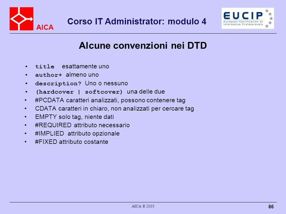 Alcune convenzioni nei DTD