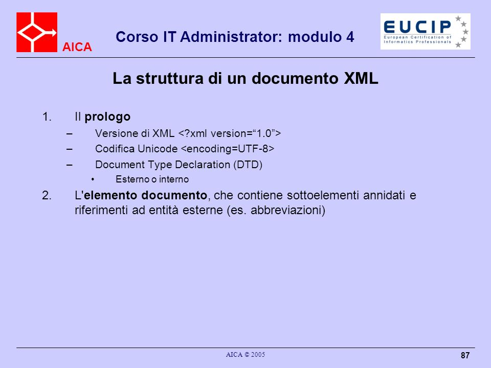 La struttura di un documento XML
