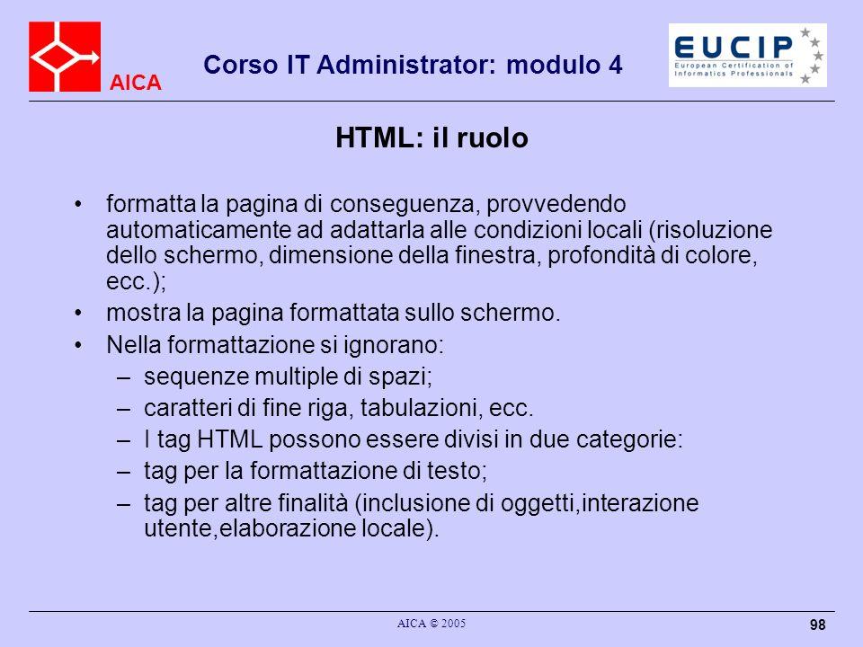 HTML: il ruolo
