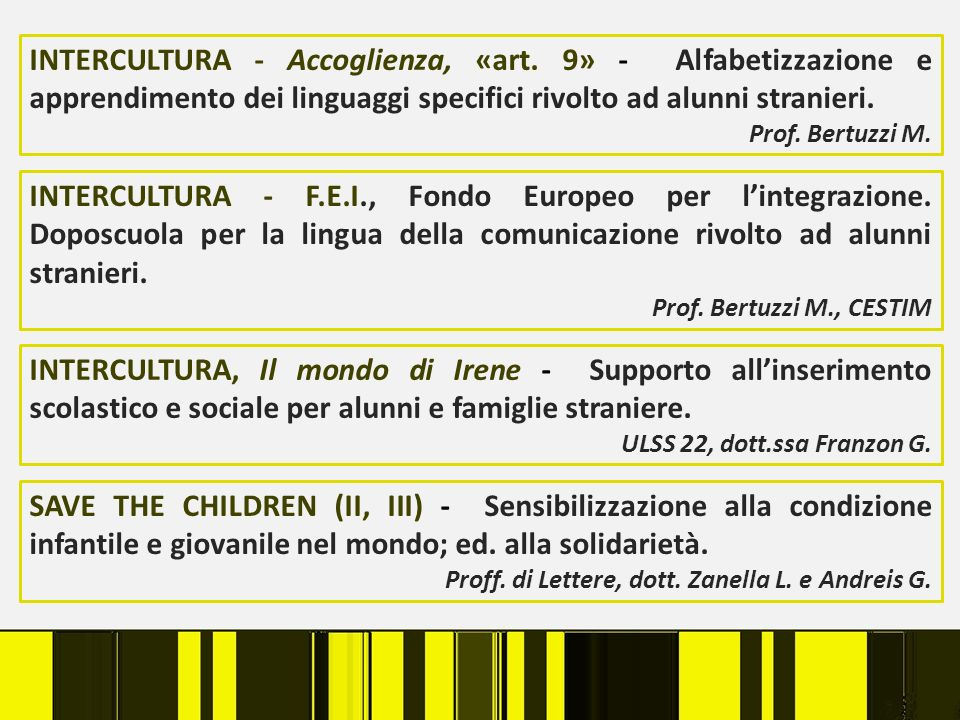 INTERCULTURA - Accoglienza, «art