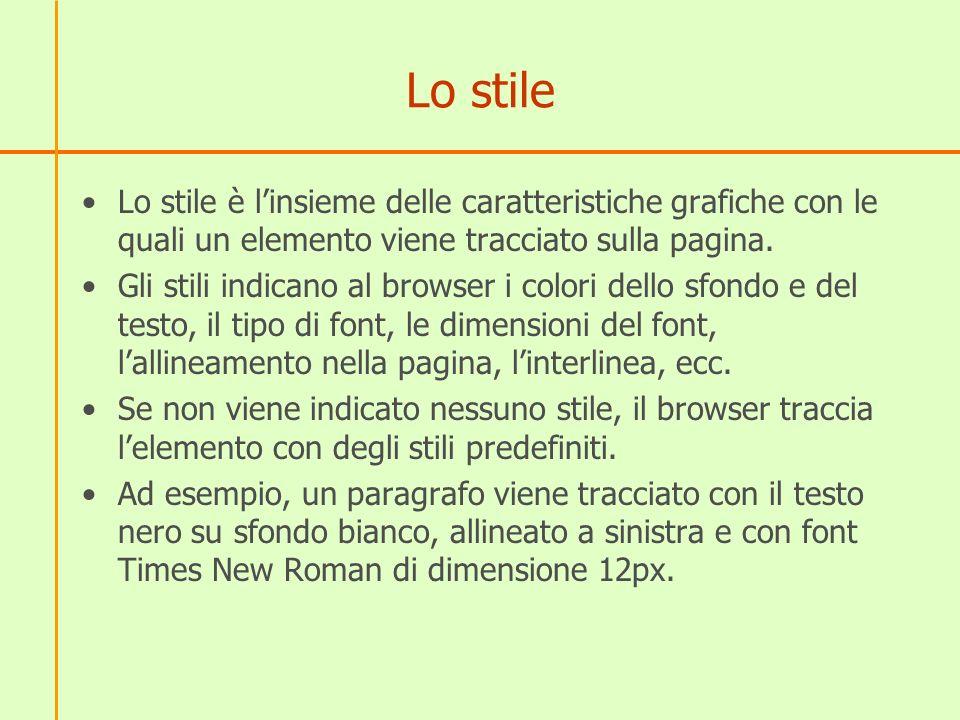 Lo stile Lo stile è l'insieme delle caratteristiche grafiche con le quali un elemento viene tracciato sulla pagina.