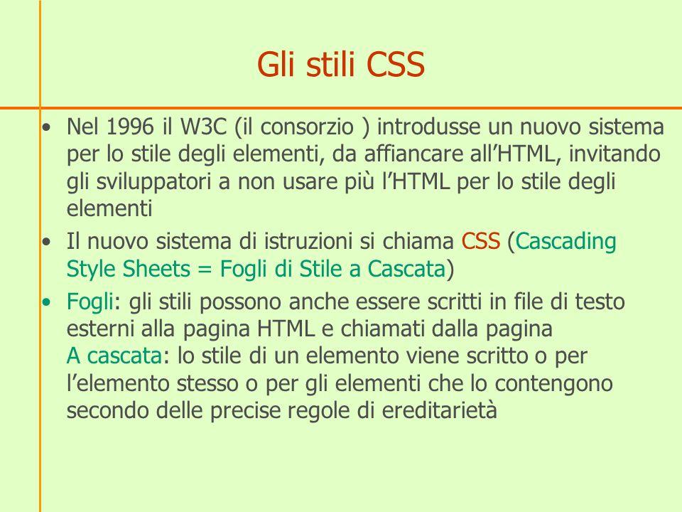 Gli stili CSS