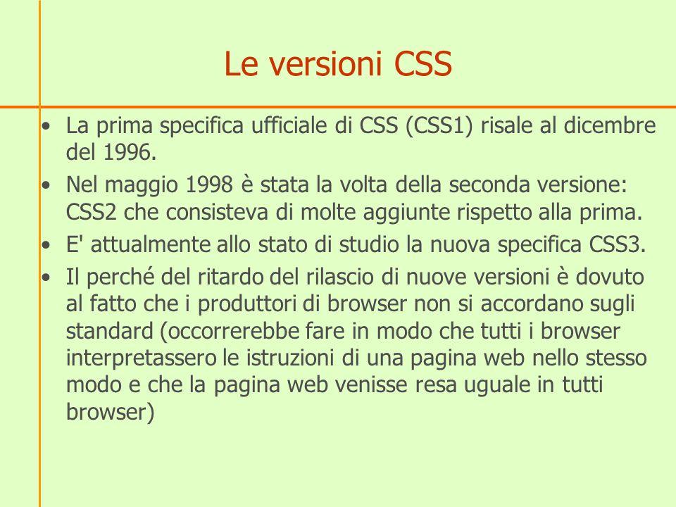 Le versioni CSS La prima specifica ufficiale di CSS (CSS1) risale al dicembre del 1996.