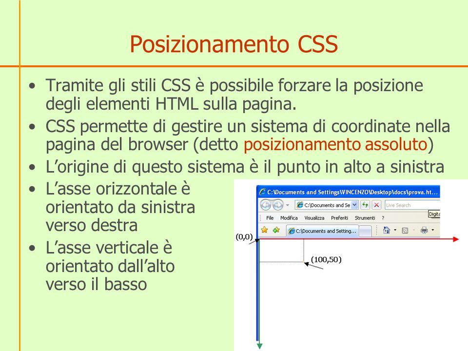 Posizionamento CSS Tramite gli stili CSS è possibile forzare la posizione degli elementi HTML sulla pagina.