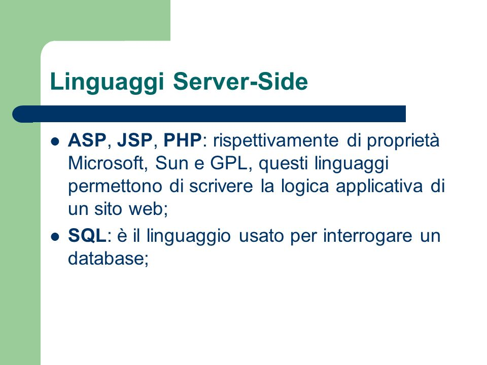 Linguaggi Server-Side