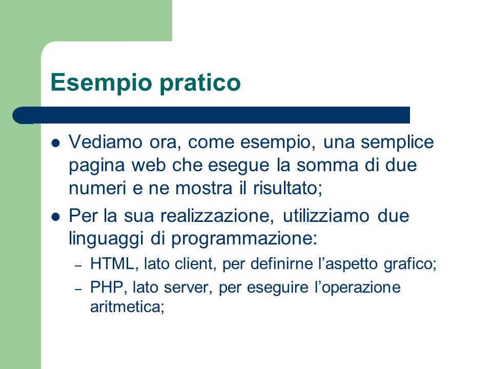 Esempio pratico Vediamo ora, come esempio, una semplice pagina web che esegue la somma di due numeri e ne mostra il risultato;