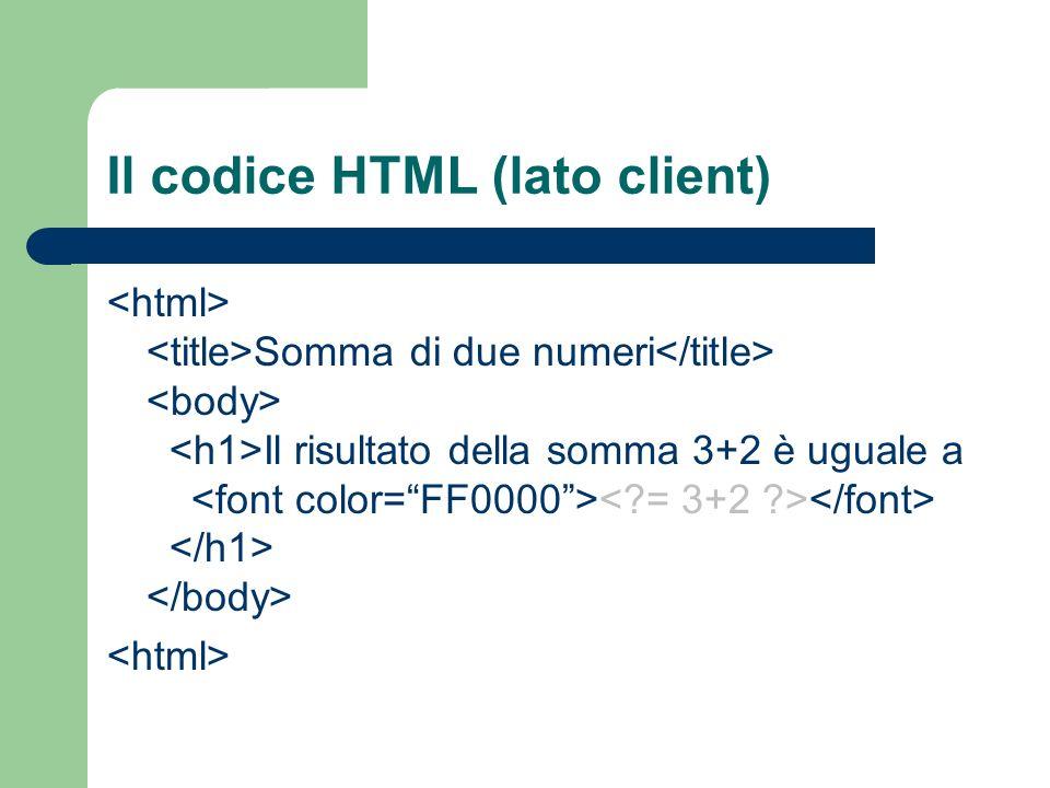 Il codice HTML (lato client)