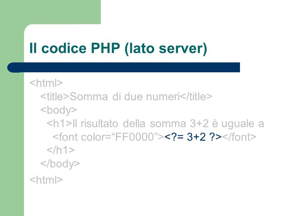 Il codice PHP (lato server)