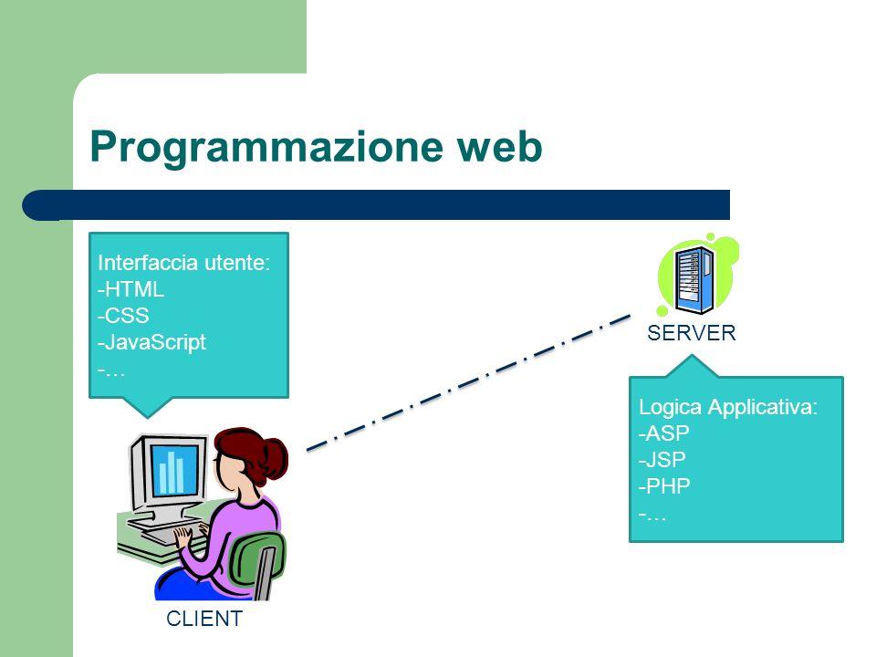 Programmazione web Interfaccia utente: HTML CSS JavaScript … SERVER