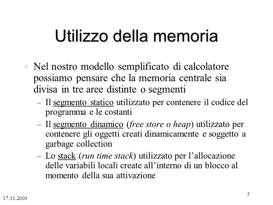 Utilizzo della memoria