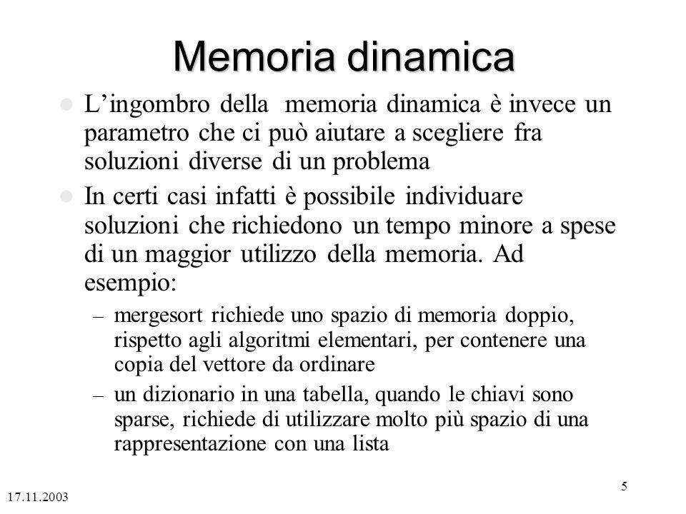 Memoria dinamica L'ingombro della memoria dinamica è invece un parametro che ci può aiutare a scegliere fra soluzioni diverse di un problema.
