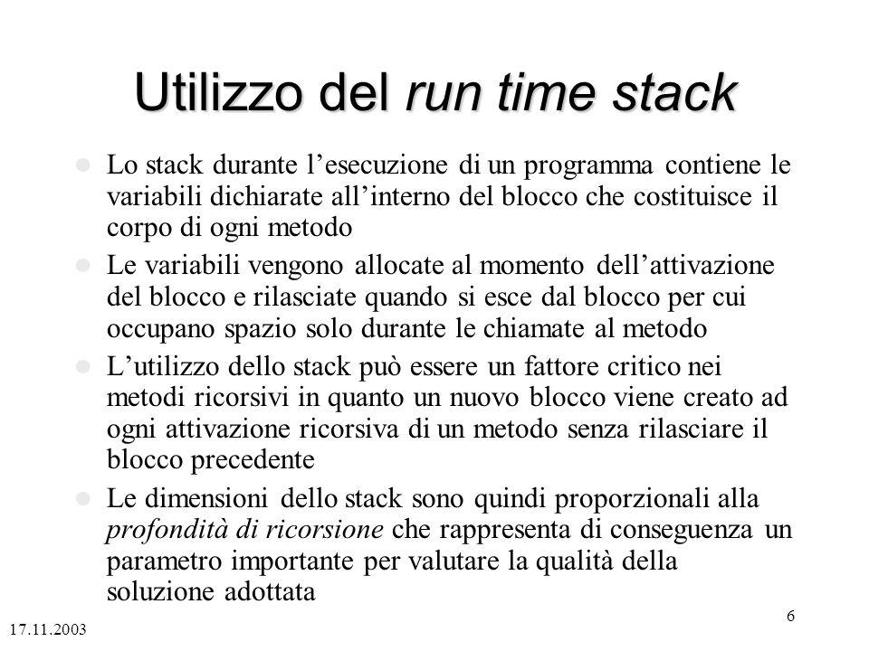 Utilizzo del run time stack