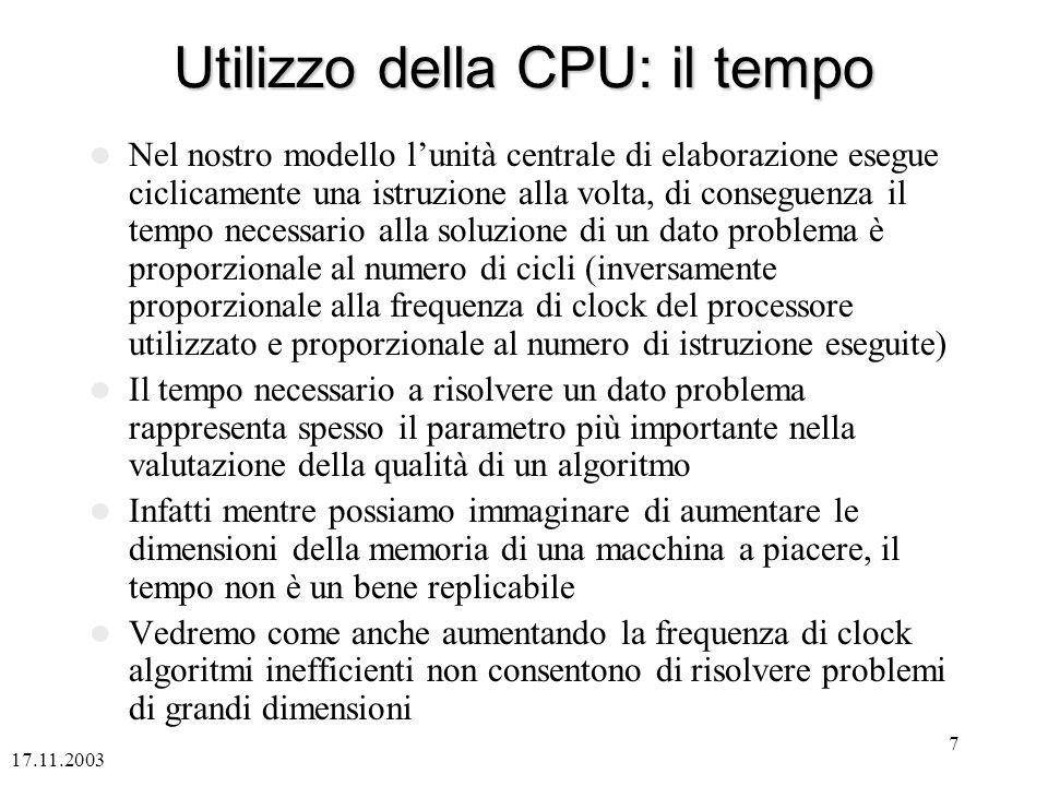 Utilizzo della CPU: il tempo