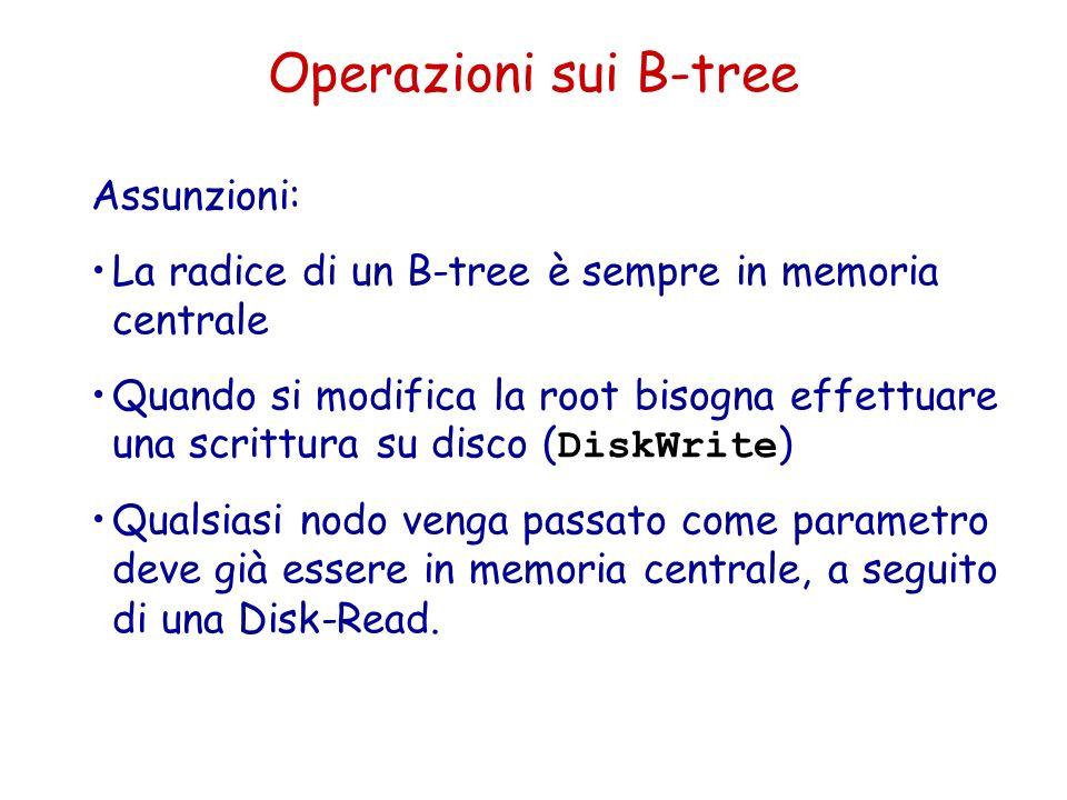 Operazioni sui B-tree Assunzioni: