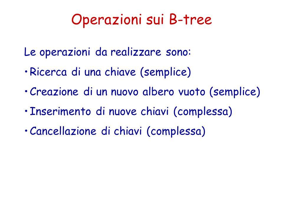 Operazioni sui B-tree Le operazioni da realizzare sono: