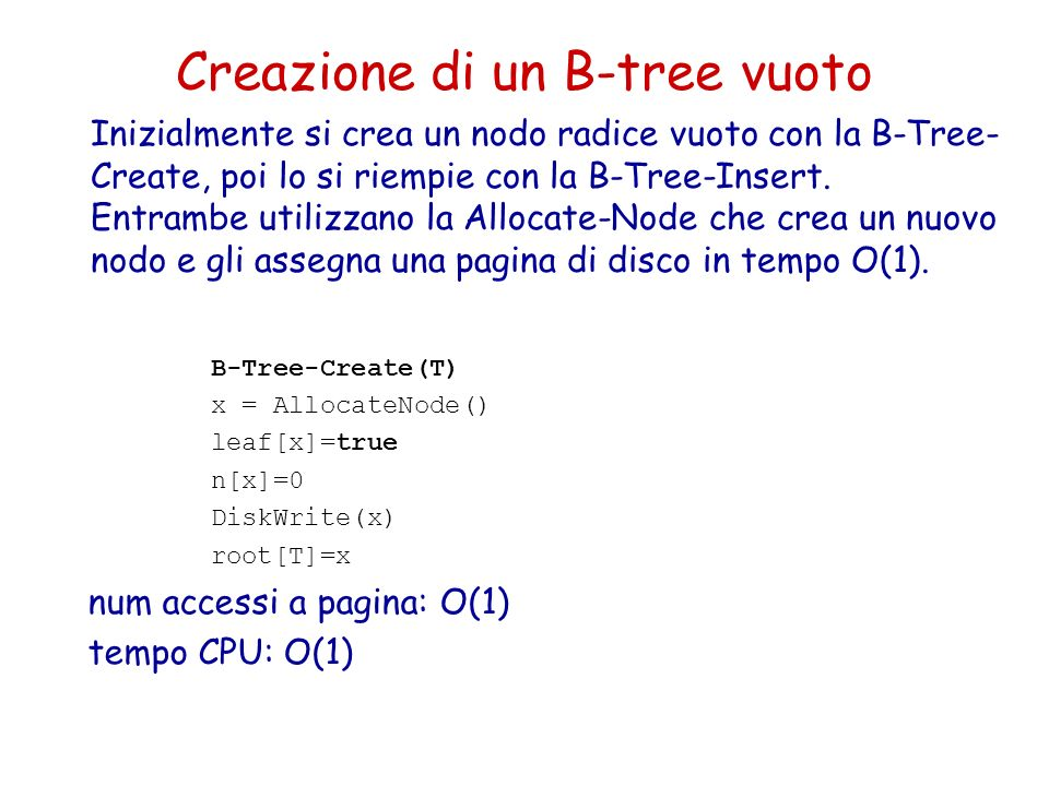 Creazione di un B-tree vuoto