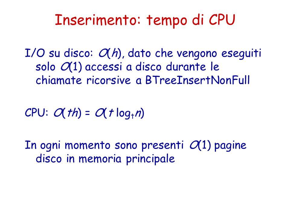 Inserimento: tempo di CPU