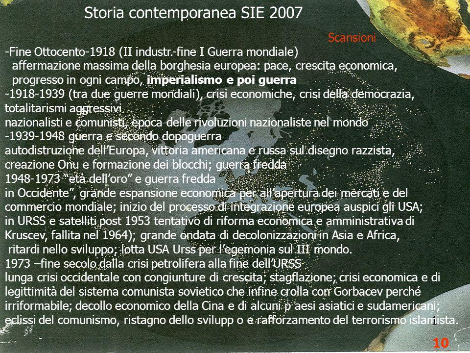 Storia contemporanea SIE 2007