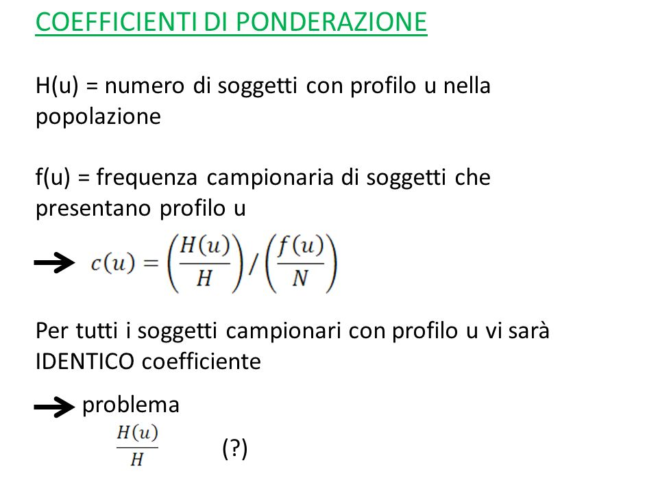 COEFFICIENTI DI PONDERAZIONE
