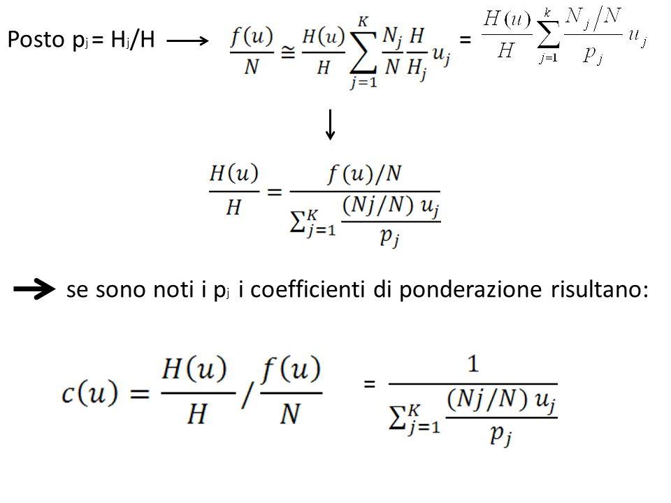 Posto pj = Hj/H = se sono noti i pj i coefficienti di ponderazione risultano: