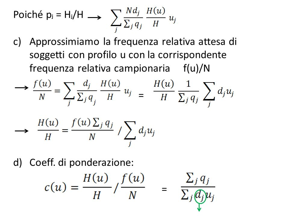 Poiché pj = Hj/H Approssimiamo la frequenza relativa attesa di soggetti con profilo u con la corrispondente frequenza relativa campionaria f(u)/N.