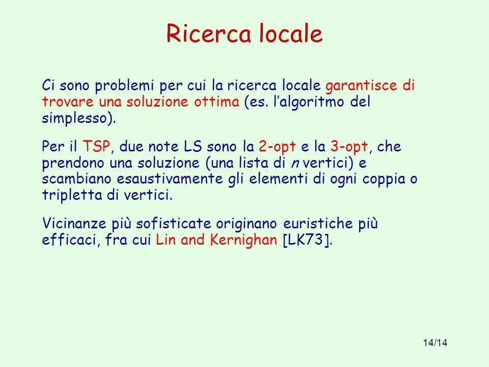 Ricerca locale Ci sono problemi per cui la ricerca locale garantisce di trovare una soluzione ottima (es. l'algoritmo del simplesso).