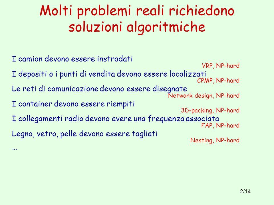 Molti problemi reali richiedono soluzioni algoritmiche