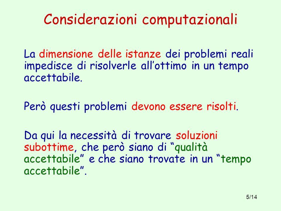Considerazioni computazionali