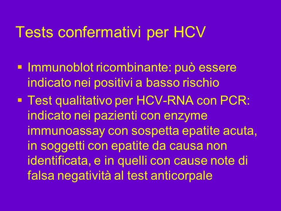 Tests confermativi per HCV