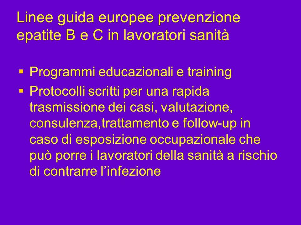 Linee guida europee prevenzione epatite B e C in lavoratori sanità