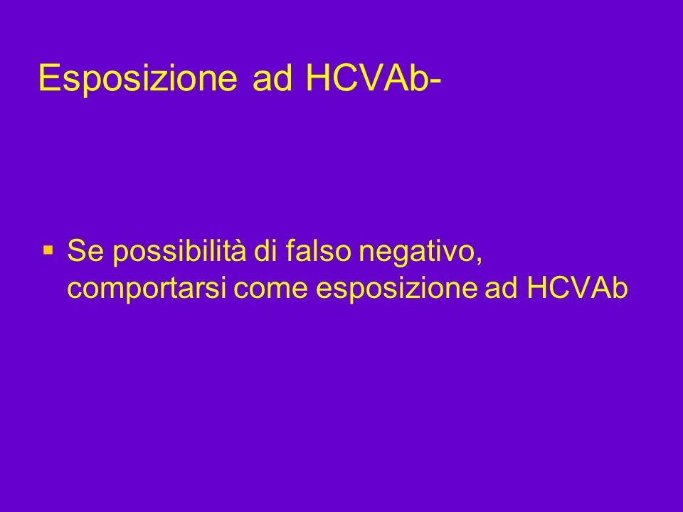 Esposizione ad HCVAb- Se possibilità di falso negativo, comportarsi come esposizione ad HCVAb