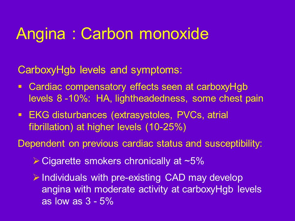 Angina : Carbon monoxide