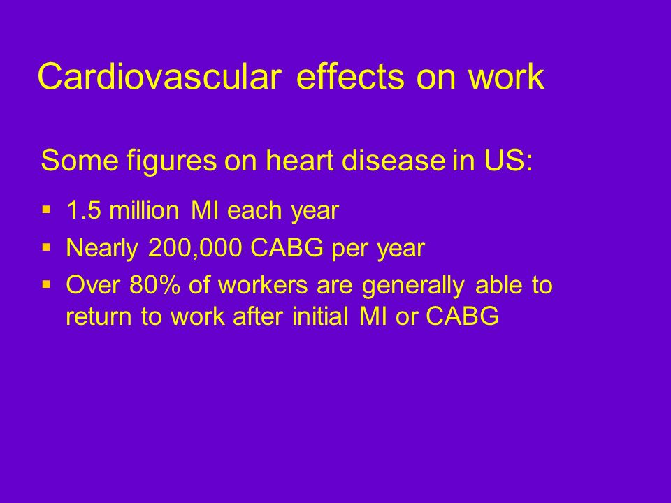 Cardiovascular effects on work