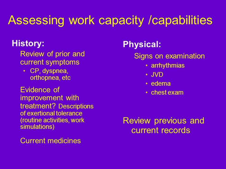 Assessing work capacity /capabilities