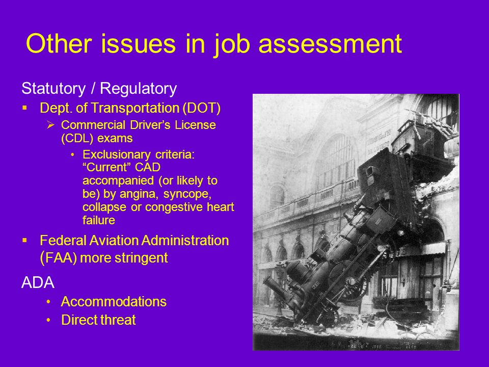 Other issues in job assessment