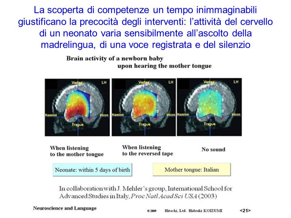 La scoperta di competenze un tempo inimmaginabili giustificano la precocità degli interventi: l'attività del cervello di un neonato varia sensibilmente all'ascolto della madrelingua, di una voce registrata e del silenzio