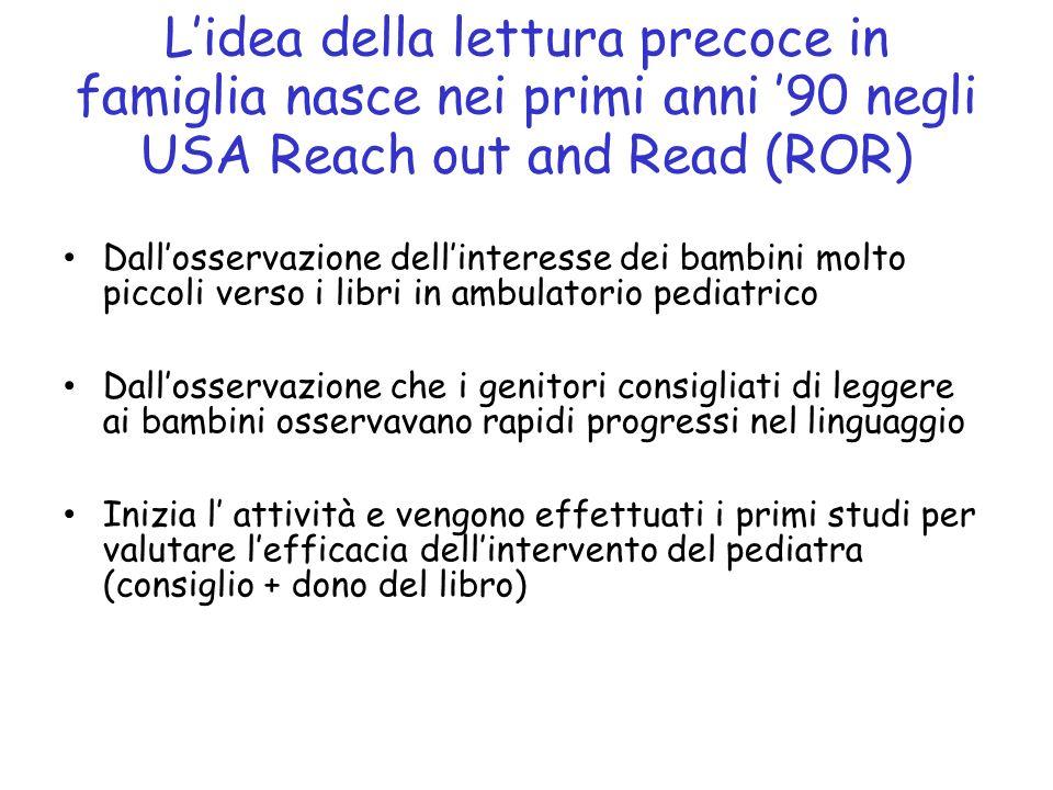 L'idea della lettura precoce in famiglia nasce nei primi anni '90 negli USA Reach out and Read (ROR)