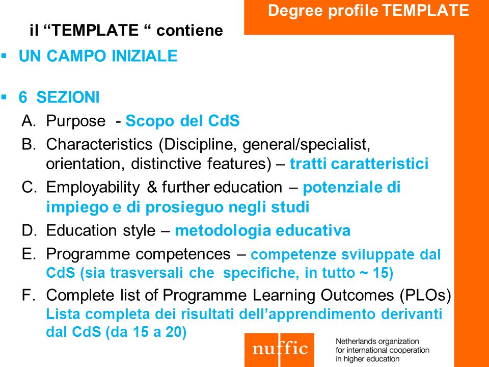 Degree profile TEMPLATE il TEMPLATE contiene