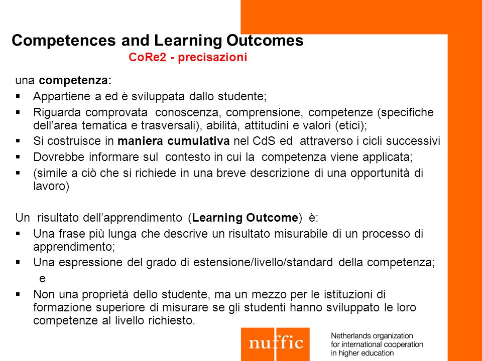 Competences and Learning Outcomes CoRe2 - precisazioni