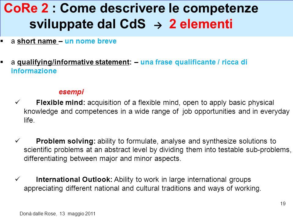 CoRe 2 : Come descrivere le competenze sviluppate dal CdS → 2 elementi