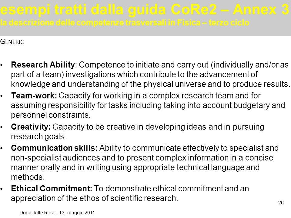 esempi tratti dalla guida CoRe2 – Annex 3 la descrizione delle competenze trasversali in Fisica – terzo ciclo