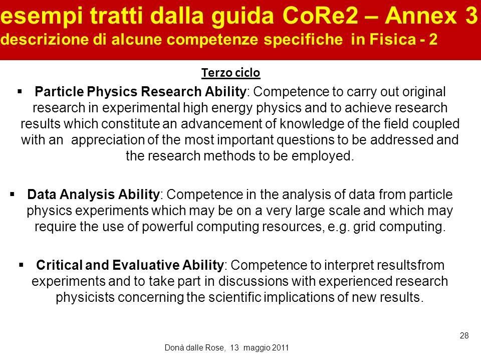 esempi tratti dalla guida CoRe2 – Annex 3 descrizione di alcune competenze specifiche in Fisica - 2