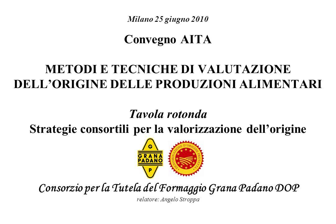 Milano 25 giugno 2010 Convegno AITA METODI E TECNICHE DI VALUTAZIONE DELL'ORIGINE DELLE PRODUZIONI ALIMENTARI Tavola rotonda Strategie consortili per la valorizzazione dell'origine Consorzio per la Tutela del Formaggio Grana Padano DOP relatore: Angelo Stroppa