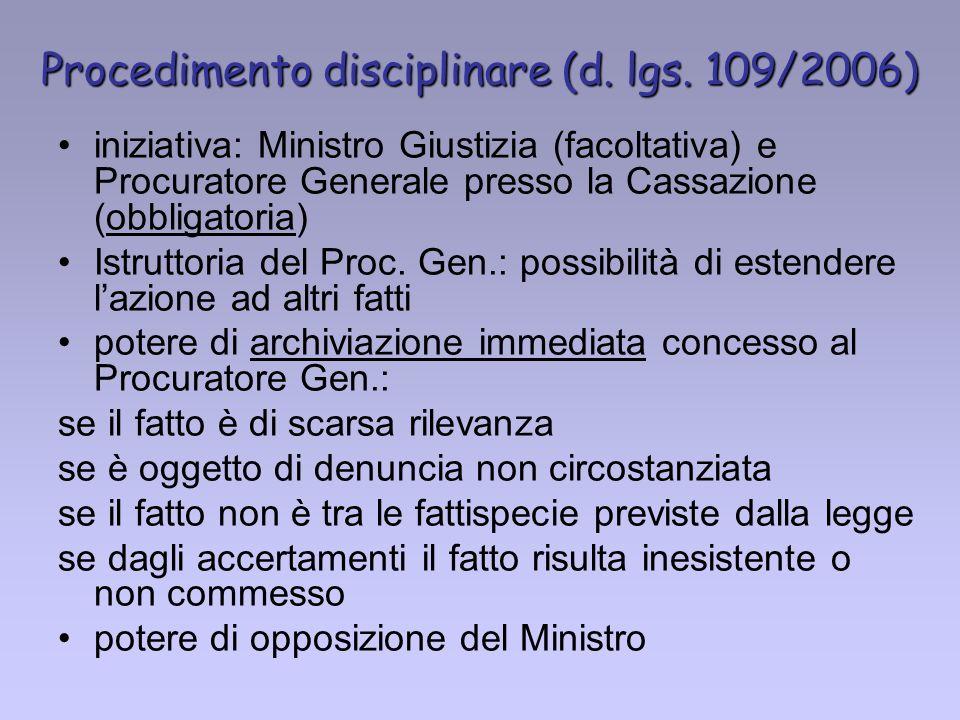 Procedimento disciplinare (d. lgs. 109/2006)